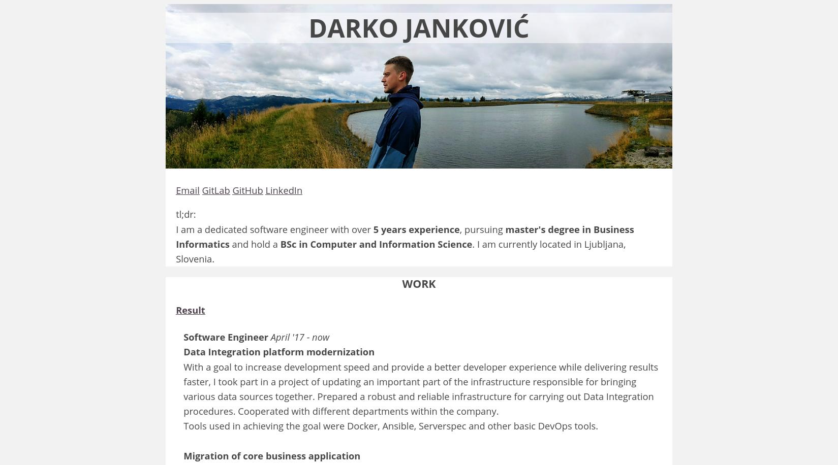 Old jankovic.dev look